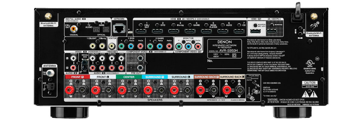 Denon AVR-S950H connections