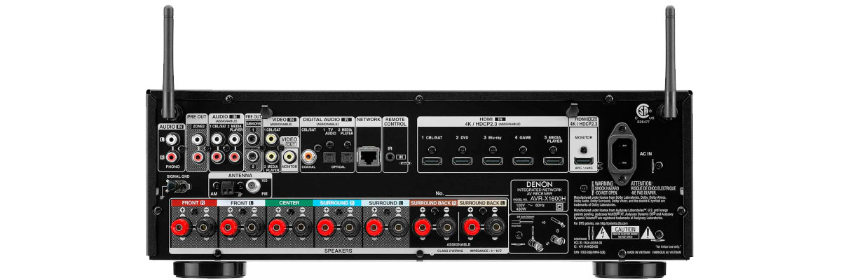 Denon AVR-X1600H connections