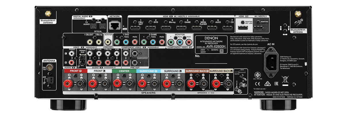 Denon AVR-X2600H connections