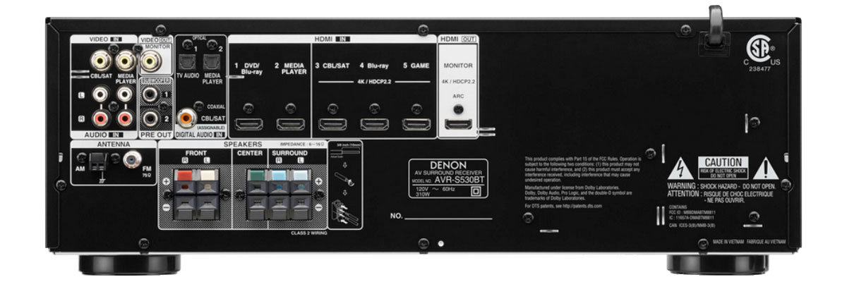 Denon AVRS530BT connections