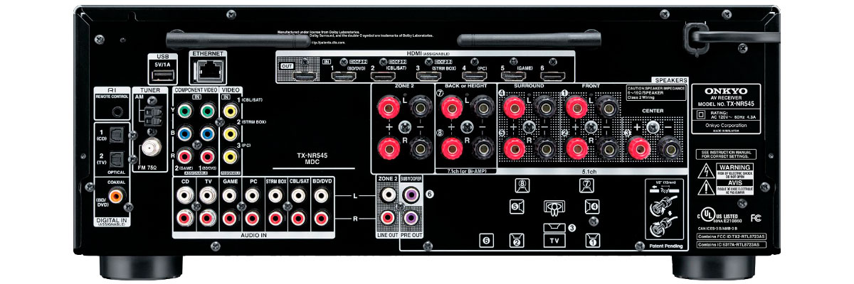 Onkyo TX-NR545 connections