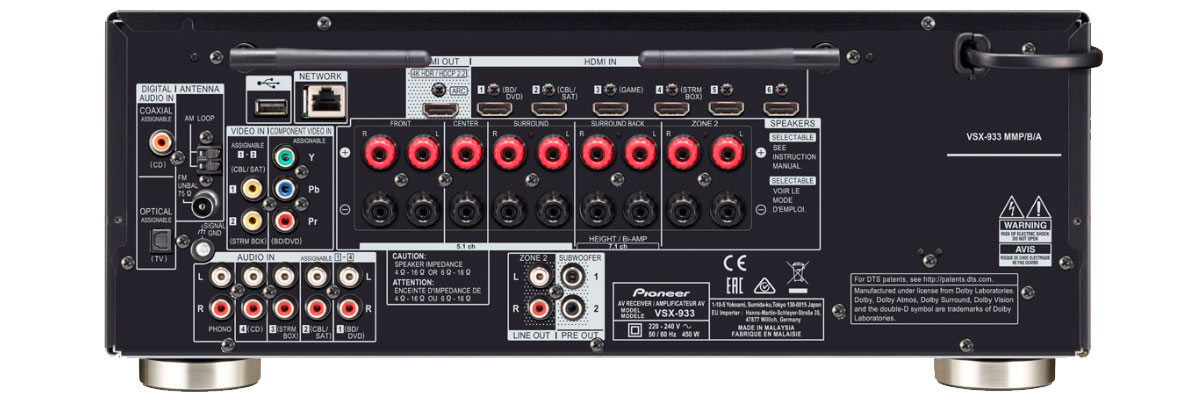 Pioneer VSX-933 connections